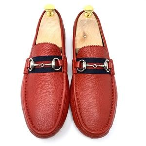 GUCCI Red Leather Ribbon Driver Loafer - WORN ONCE